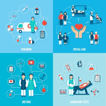 Medical personnel set with paramedic special care doctors and laboratory tests isolated vector illustration