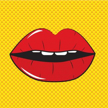 Open Red Lips Pop Art Background On Dot Background Vector Illustration EPS10. Open Red Lips Pop Art Background Vector