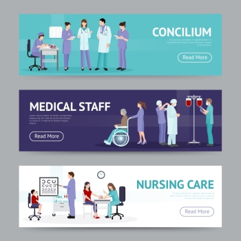 Medical Care Horizontal Banners. Medical care horizontal banners with doctor nurse counseling hospital workers in flat style vector illustration