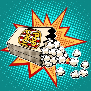 Popcorn sweet and savory corn pop art retro style. Fast food in the cinema. Healthy and unhealthy foods. Childhood and entertainment. Popcorn sweet and savory corn