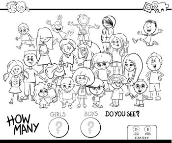 Black and White Cartoon Illustration of Educational Counting Game for Children with Kid Girls and Boys Characters Group Coloring Book