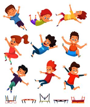 Kids jumping. Trampoline childrens athletic playing on playground active games vector cartoon people. Illustration of sport trampoline for kids, jump and fun. Kids jumping. Trampoline childrens athletic playing on playground active games vector cartoon people
