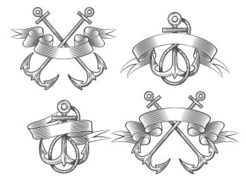 Set of vintage anchors with ribbon.  Elements for your design. Hand drawn vector illustration.