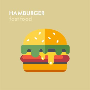 Hamburger. Vector illustration, icon. Fast food.