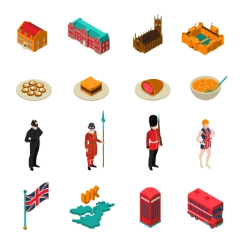 Great Britain Isometric Touristic Set. Colorful great britain isometric touristic set with british national cuisine architecture characters and symbols isolated on white background vector illustration