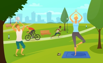 Sport People In Park Design Composition. Young people involved in sports in park design composition with girl making yoga exercises runner cyclist and basketball player flat vector illustration