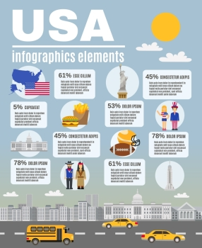 Infographic Layout Poster USA Culture. Infographic presentation USA basic cultural and historical background Information layout flat poster design abstract vector illustration
