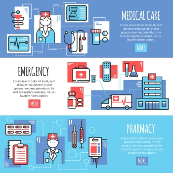 Medical Horizontal Banners. Medical horizontal banners with emergency pharmacy and medical care line icons compositions flat vector illustration