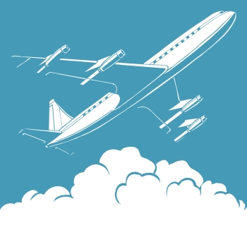 Passenger airplane in the clouds retro background pop art  style. Travel and aviation. Transport and flights. Passenger airplane in the clouds retro background