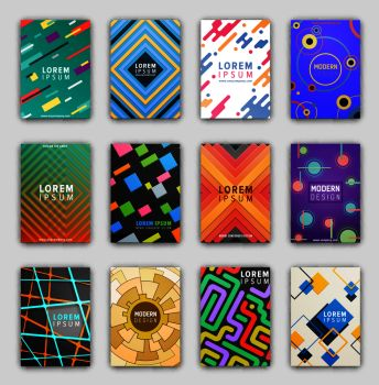 Collection of cover pages, images of coverings with geometric patterns made up of lines, curves and circles on vector illustration. Collection of Cover Pages on Vector Illustration