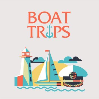 Boat trips. Vector illustration in flat style. Sailing boat, lighthouse, cap captain.