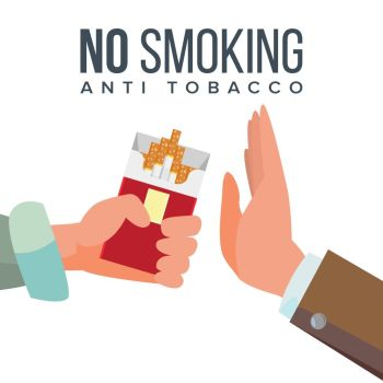 No Smoking Concept Vector. Anti Tobacco. Hand Offers To Smoke Holding A Pack Of Cigarettes. Gesture Rejection. Proposal Smoke. Isolated Flat Cartoon Illustration. No Smoking Concept Vector. Anti Tobacco. Hand Offers To Smoke Holding A Pack Of Cigarettes. Gesture Rejection. Proposal Smoke. Isolated Illustration
