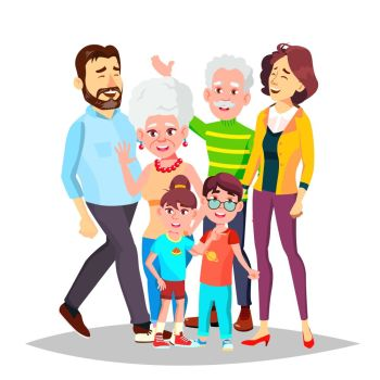 Family Portrait Vector. Big Happy Family. Traditional. Parents, Grandparents, Children. Colorful Design Isolated Cartoon Illustration. Family Vector. Full Family. Portrait. Dad, Mother, Kids, Grandparents. Poster, Advertising Template. Isolated Cartoon Illustration