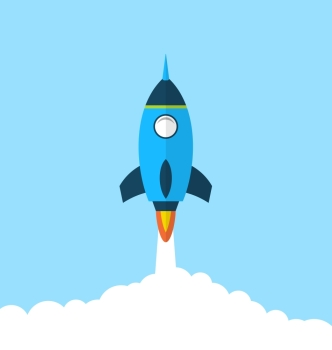 Illustration flat icon of rocket with long shadow style, startup concept - vector