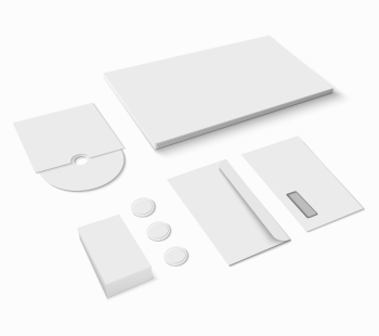Blank paper office stationery set isolated on white background vector illustration