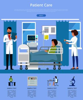 Patient care visualization with doctor and nurse taking care after woman patient sitting on hospital bed. Vector illustration of clinic room on blue background. Patient Care Description Vector Illustration