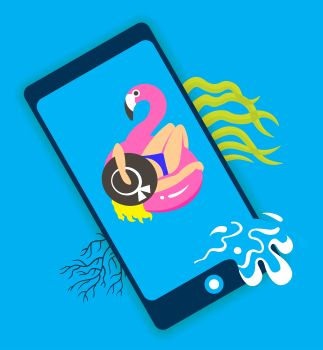 Concept of travel, girl on an inflatable pink flamingo in summer of swims and rests, online ordering holiday vouchers.. Concept of travel, girl on an inflatable pink flamingo in summer of swims and rests, online ordering holiday vouchers. Vector illustration.