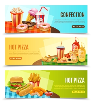 Fast Food Horizontal Banners Set . Hot pizza restaurant online order 3 flat horizontal banners with fast food menu information isolated vector illustration