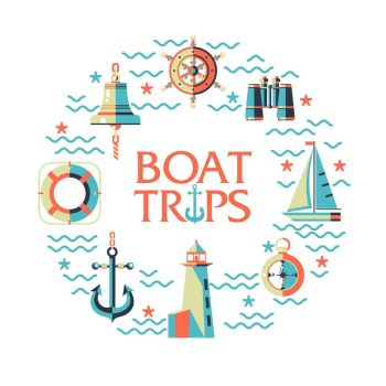 Vector icons arranged in a circle. The concept of marine theme. Riding on a sailing yacht. Lighthouse, anchor, compass, binoculars, ships wheel, ship's bell.