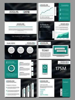 Keynote style business presentation vector template. Multipurpose corporate brochure or booklet with infographic charts. Layout leaflet for business presentation illustration. Keynote style business presentation vector template. Multipurpose corporate brochure or booklet with infographic charts