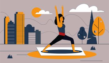 The girl performs sports exercises in the city Park. Healthy lifestyle in the big city. Urban landscape. Vector illustration.. The girl performs sports exercises in the city Park. Vector illustration.