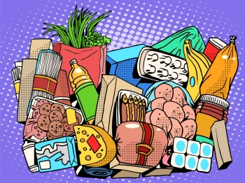 the set of products and food goods pop art retro style. Meat fish sausage greens vegetables fruit bananas onions cream butter milk yogurt eggs cheese pasta spaghetti potato canned food Bank. the set of products and food goods