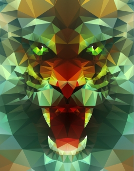 Abstract polygonal tiger. Geometric hipster illustration. Polygonal poster