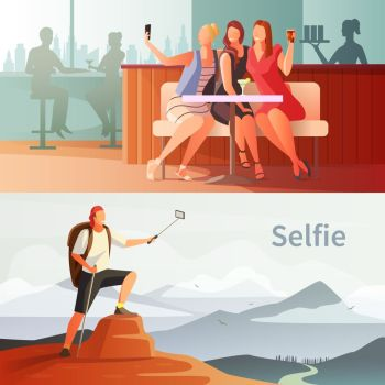 Modern People Selfie Set. Selfie photo modern people lifestyle horizontal compositions set with group of girls in cafe and mountain climber vector illustration