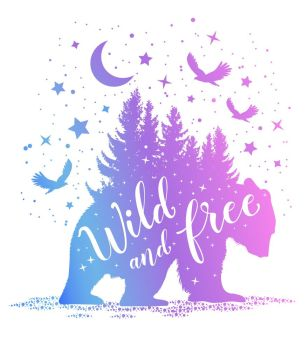 Silhouette of a bear, fir tree and starry sky on a white background. Wild and free lettering. Vector illustration.. Silhouette of a bear and starry sky.