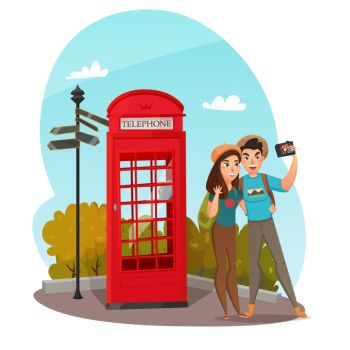 Young Travelers Composition. Composition with couple of smiling young travelers making selfie with red telephone box in summertime vector illustration