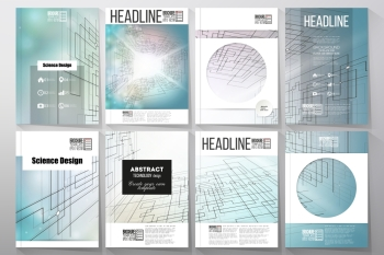 Set of business templates for brochure, flyer or booklet. Abstract vector background of digital technologies, cyber space.