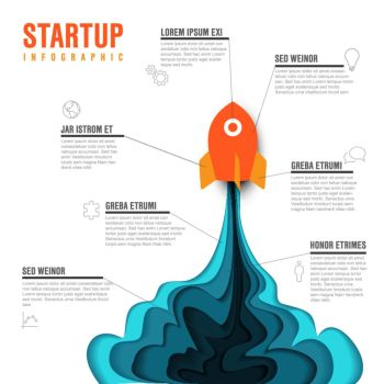 Startup infographic template. Paper cut startup infographic template with space rocket - light version