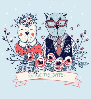 vector illustration with a cute couple of funny cats for wedding design