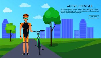 Active lifestyle bicyclist, web page with text sample and button saying read more, man in helmet with bike, cityscape and trees vector illustration. Active Lifestyle Bicyclist Web Vector Illustration