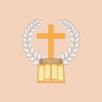 Jesus Christ is the Bread of Life. Laurel leaf surrounds the Christian cross. The Bible with a commemorative plaque lies at the cross. Logo on the Christian theme.