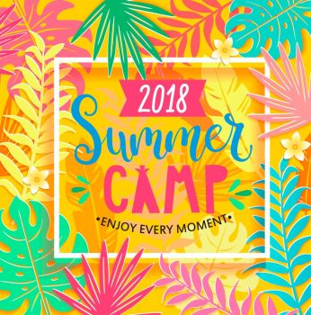 Summer camp 2018 lettering on jungle background.. Summer camp 2018 handdrawn lettering in square frame on jungle background with tropical leaves. Vector illustration.