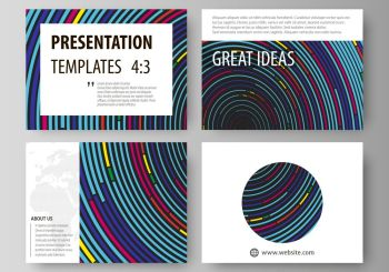 Set of business templates for presentation slides. Easy editable abstract vector layouts in flat design. Blue color background in minimalist style made from colorful circles.. Set of business templates for presentation slides. Easy editable abstract vector layouts in flat design. Blue color background in minimalist style made from colorful circles