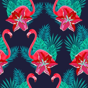 Flamingo birds and tropical hibiscus bright flowers tropical foliage colorful composition hawaiian seamless pattern abstract vector illustration. Flamingo lilies colorful seamless pattern