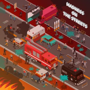 Street War Isometric Illustration. Street war with burning cars and fighting people fire service and police isometric vector illustration