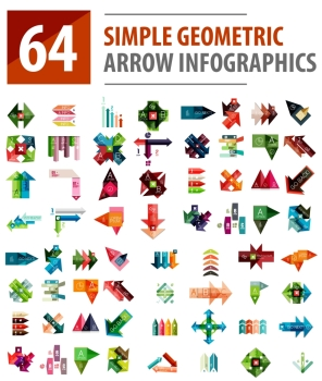 Geometric arrow infographics, mega collection. Geometric arrow infographics, mega collection of abstract templates