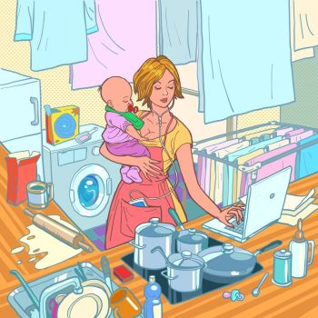Modern mother with child. Remote work and household chores. Kitchen, cooking, washing, laptop computer, listening to music. Caring for infants. Comic cartoon pop art retro vector illustration drawing. Modern mother with child. Motherhood of a strong woman