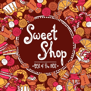 Sweet shop background with sketch cookies chocolate doughnut cupcake vector illustration