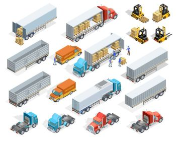 Transportation Isometric Elements Set. Transportation isometric elements set with loaded and empty trucks trailers boxes forklifts and workers isolated vector illustration