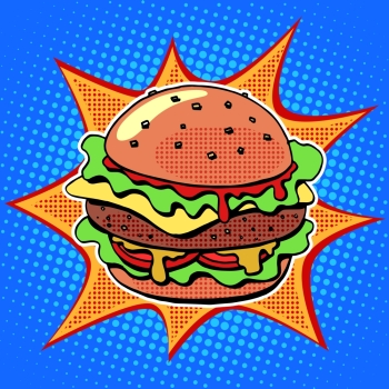 Fast food Burger with sesame meat salad and cheese pop art retro style. Healthy and unhealthy food. Restaurant business. Colorful image of a sandwich on a retro background in the style of comics. Fast food Burger with sesame meat salad and cheese