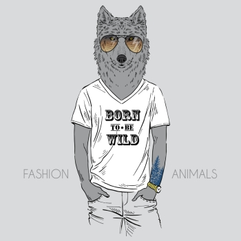 Anthropomorphic design. Illustration of wolf dressed up in t-shirt with quote