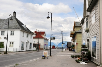 A street of a small norvegian village Vik  situated in fjords. Norway