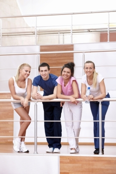 Attractive young people in the fitness club