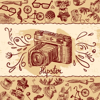Hipster fashion sketch background with vintage photo camera vector illustration