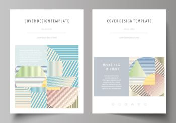 Business templates for brochure, magazine, flyer, booklet or annual report. Cover design template, easy editable vector, abstract flat layout in A4 size. Minimalistic design with lines, geometric shapes forming beautiful background.. Business templates for brochure, magazine, flyer, booklet or report. Cover template, abstract vector layout in A4 size. Minimalistic design with lines, geometric shapes forming beautiful background.