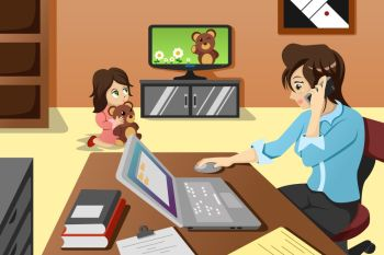 A vector illustration of mother working in the office while her daughter watching television